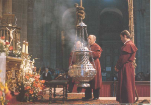 The large incense thurible at the Cathedral of Santiago de Compostela. Source: catholicpilgrim.org