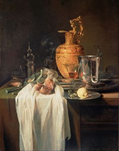 "Willem Kalf, (1619-1693)  ""Still Life with Ewer, Vessels and Pomegranate."" The Getty Museum. Source: Wikipedia."