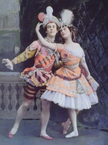 Nijinsky and Pavlova, the two superstars of Les Ballets Russes. Vintage image. Source: jbtaylor.typepad.com