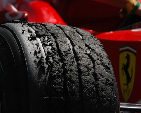 Ferrari Formula 1 rubber tire, post race, via reddit.com