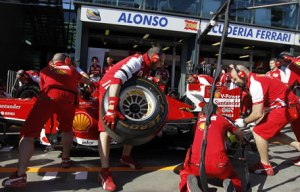 Ferrari Formula 1 Pit, practice session. Photo: Reuters via Emirates247.com
