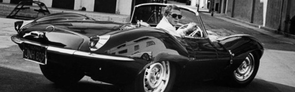 Steve McQueen in his Jaquar. Source: mtblabel.com